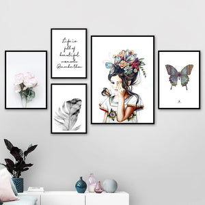 Girl Butterfly Peony Feather Flower Wall Art Canvas Painting Nordic Posters And Prints Wall Pictures For Living Room Home Decor