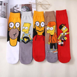 New Simpson Family Cartoon Socks Funny Happy Socks Men Women Cotton Socks for Girls Male Female Cute Ladies Simpsons Sock Unisex