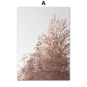 Pink Reed Grass Flower Plant Fence Quote Nordic Posters And Prints Wall Art Canvas Painting Wall Pictures For Living Room Decor