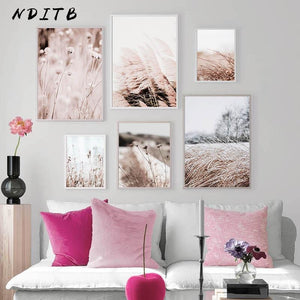 Grass Nature Picture Scandinavian Poster Landscape Wall Art Canvas Print Painting Nordic Style Modern Modern Living Room Decor