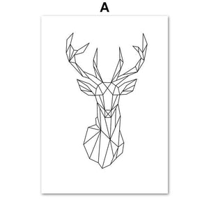 Geometry Deer Elephant Heart Wall Art Canvas Painting Nordic Posters And  Prints Black White Wall Pictures For Living Room Decor
