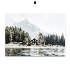 Alps Snow Mountain Boat Lake Forest Smog Wall Art Canvas Painting Nordic Posters And Prints Wall Pictures For Living Room Decor