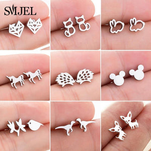 SMJEL Stainless Steel Mickey Stud Earrings for Women Girls Minimalist Fox Cat Hedgehog Earings Jewelry Animal Accessories Gifts