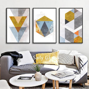Abstract Triangle Hexagon Geometry Mosaic Combination Canvas Paintings Poster And Print Decorative Wall Art Pictures Living Room