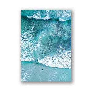 Ocean Wave Wall Art Canvas Painting Beach Surf Aerial Prints Nordic Posters Modern Beach Landscape Picture for Living Room Decor