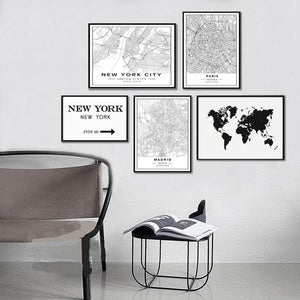 Nordic Minimalist World Famous City Map Canvas Paintings Berlin Oslo Poster Print Wall Art Pictures for Living Room Home Decor