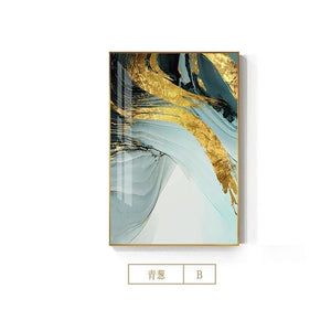 Modern Abstract Green Gold Foil Canvas Art Fashion Blue Poster and Print Wall Picture for Living Room Stylish Cuadro Decorativo