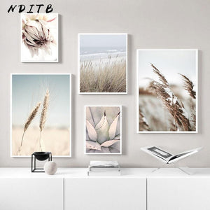Reed Grass Sea Landscape Poster Scandinavian Canvas Print Nature Scenery Wall Art Picture Painting Nordic Style Home Room Decor