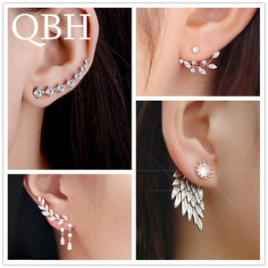 New Fashion Simulated Pearls Pendientes Bijoux Angel Wings Leaf Feather Flowers Stud Earrings For Women Wedding Jewelry Brincos-Earrings-Ultrabasic