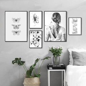 Gray Butterfly Girl Petal Love Posters And Prints Nordic Poster Wall Picture Canvas Art Wall Pictures For Living Room Unframed
