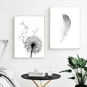 Simple Quotes HD Wall Art Modular Picture Nordic Style Poster Feather Dandelion Canvas Painting Print Restaurant Home Decoration