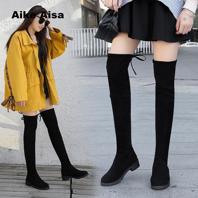 Size 35-41 Winter Over The Knee Boots Women Stretch Fabric Thigh High Sexy Woman Shoes Long Bota Feminina zapatos de mujer-Shoes-Ultrabasic