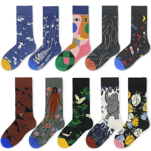 cotton happy socks women swan peace pigeon bird animal socks man colorful picasso art socks primitive tribe crazy men sock funny