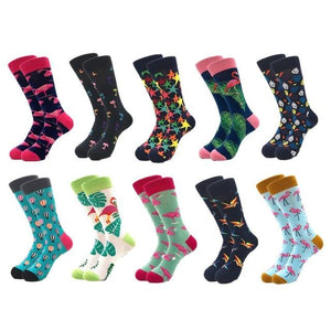 10pairs/lot Brand Quality Men's Socks Combed Cotton colorful Happy Funny Sock Autumn Winter Warm Casual long Men compression sock