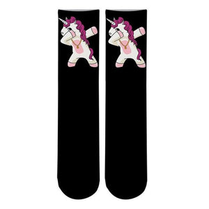 Crazy Fun Cool 3D Print Unicorn Colorful Long Socks Men Alien Funny Crew Sport Socks Novelty Women Tube Kawaii Pink Socks