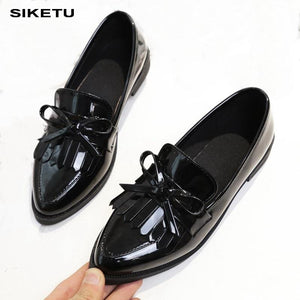 Brand Shoes Woman Casual Tassel Bow Pointed Toe Black Oxford Shoes for Women Flats Comfortable Slip on Women Shoes Free Gift
