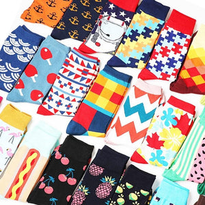 Cute Happy Socks Pink Women Men Short Cotton Socks With Print Casual Harajuku Designer Art Female Fashion For Couple Funny Socks
