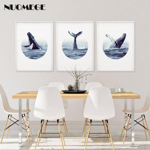 NUOMEGE Modern Poster Whale Wall Art Print Coastal Art Decor Humpback Beluga Canvas Painting Decorative Picture for Living Room