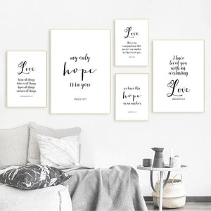 Bible Verses Typography Love Quotes Posters And Prints Christian Scripture Wall Art Painting Black White Picture Home Decor
