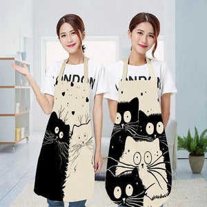 Cute cartoon cat print kitchen apron waterproof apron cotton linen easy to clean home tools 12 styles to choose from-Apron-Ultrabasic