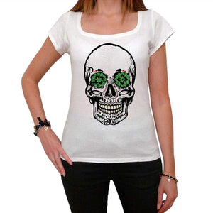 Psychedelic Skull White Womens T-Shirt 100% Cotton 00188
