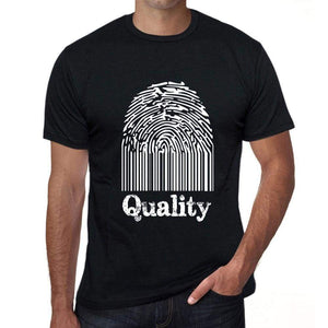 Quality Fingerprint Black Mens Short Sleeve Round Neck T-Shirt Gift T-Shirt 00308 - Black / S - Casual