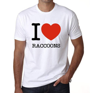 Raccoons I Love Animals White Mens Short Sleeve Round Neck T-Shirt 00064 - White / S - Casual