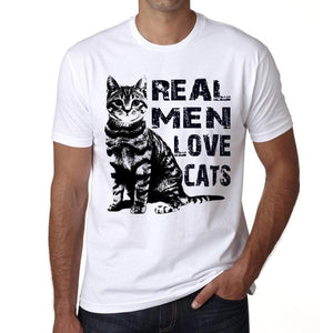 Real Men Love Cats 2 Tshirt Mens Tee White 100% Cotton 00186
