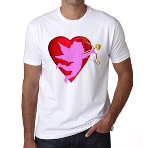 Red Heart And Cupid Mens Tee White 100% Cotton 00156
