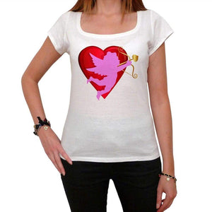 Red Heart And Cupid Tshirt White Womens T-Shirt 00157