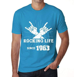 Rocking Life Since 1963 Mens T-Shirt Blue Birthday Gift 00421 - Blue / Xs - Casual