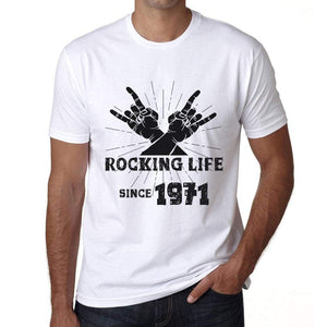 Rocking Life Since 1971 Mens T-Shirt White Birthday Gift 00400 - White / Xs - Casual