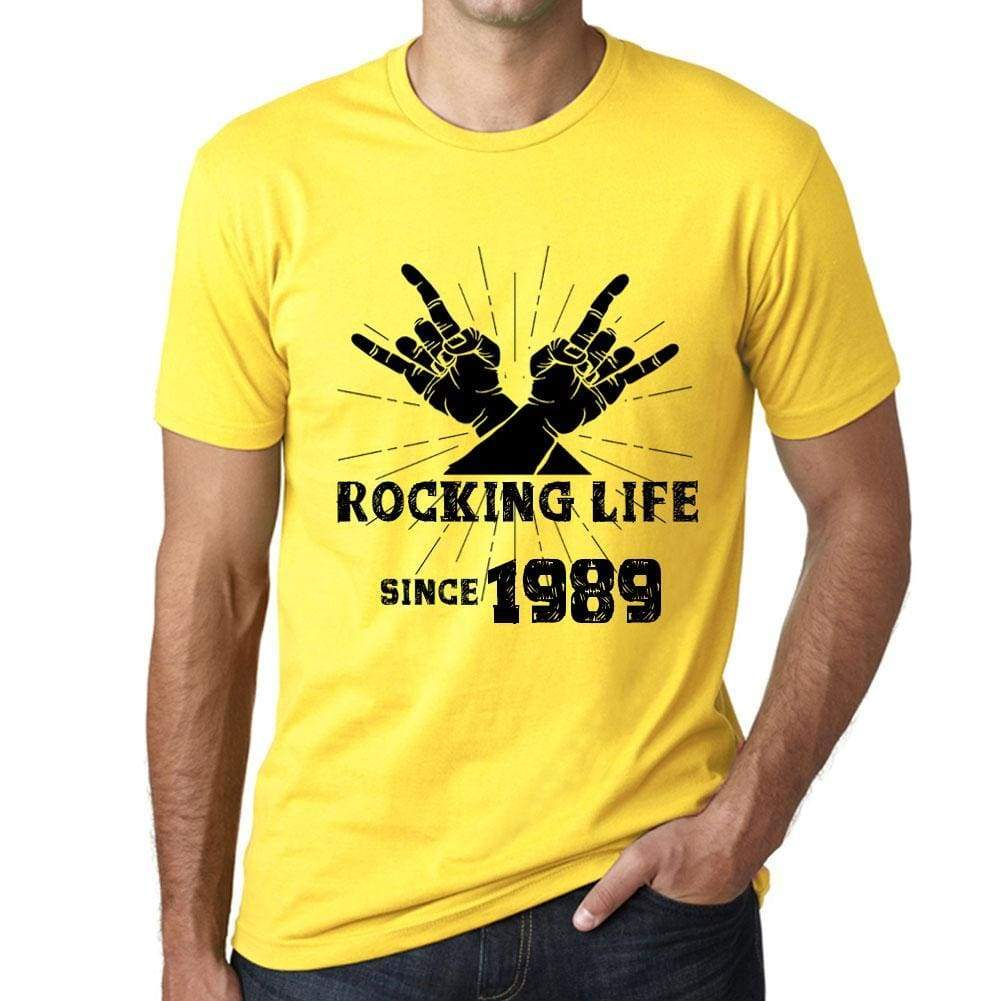 Rocking Life Since 1989 Mens T-Shirt Yellow Birthday Gift 00422 - Yellow / Xs - Casual