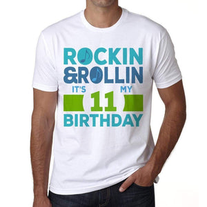 Rockin&rollin 11 White Mens Short Sleeve Round Neck T-Shirt 00339 - White / S - Casual