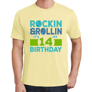 Rockin&rollin 14 Yellow Mens Short Sleeve Round Neck T-Shirt 00278 - Yellow / S - Casual