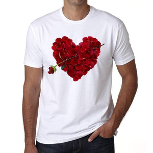 Rose Petal Heart Mens Tee White 100% Cotton 00156