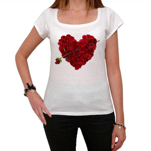 Rose Petal Heart Tshirt White Womens T-Shirt 00157