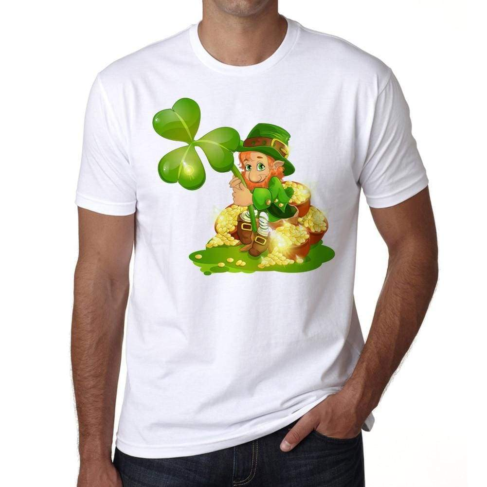 Saint Patricks Day Leprechaun With Pot Of Gold And Shamrock T-Shirt For Men T Shirt Gift 00150 - T-Shirt