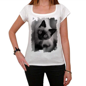 Siamese Cat Peering Tshirt White Womens T-Shirt 00222