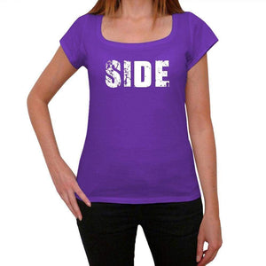 Side Purple Womens Short Sleeve Round Neck T-Shirt 00041 - Purple / Xs - Casual