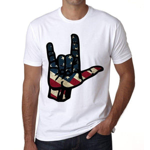 Sign Language I Love You Usa Mens Short Sleeve Round Neck T-Shirt