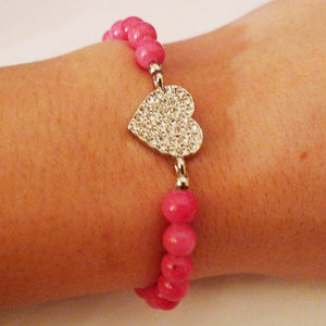 Silver Heart Strass Pink Beads Bracelet One In The City