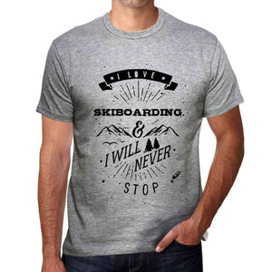 Skiboarding I Love Extreme Sport Grey Mens Short Sleeve Round Neck T-Shirt 00293 - Grey / S - Casual