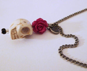 Skull Pink Flower Ikks Brand Necklace - Necklaces