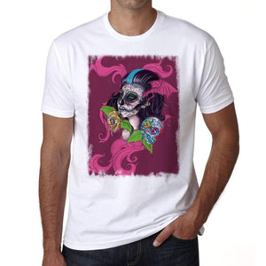 Skull Pink Mens White Tee 100% Cotton 00187