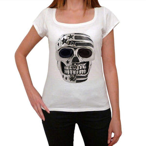 Skull Usa 1 Womens Short Sleeve Round Neck T-Shirt 00111