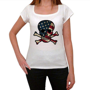 Skull Usa Womens Short Sleeve Round Neck T-Shirt 00111
