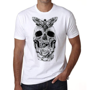 Skull With Moth And Rose Tattoo Mens White Tee 100% Cotton 00162
