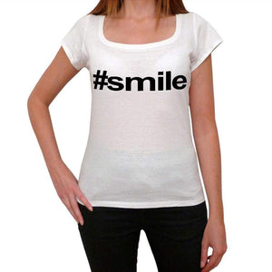 Smile Hashtag Womens Short Sleeve Scoop Neck Tee 00075