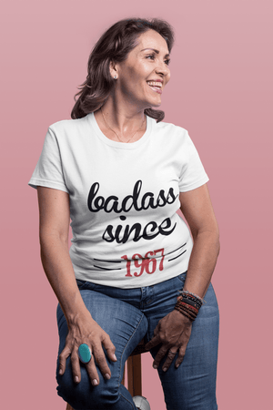 Badass Since 1967 <span>Women's</span> T-shirt <span>White</span> <span>Birthday</span> <span>Gift</span> 00431